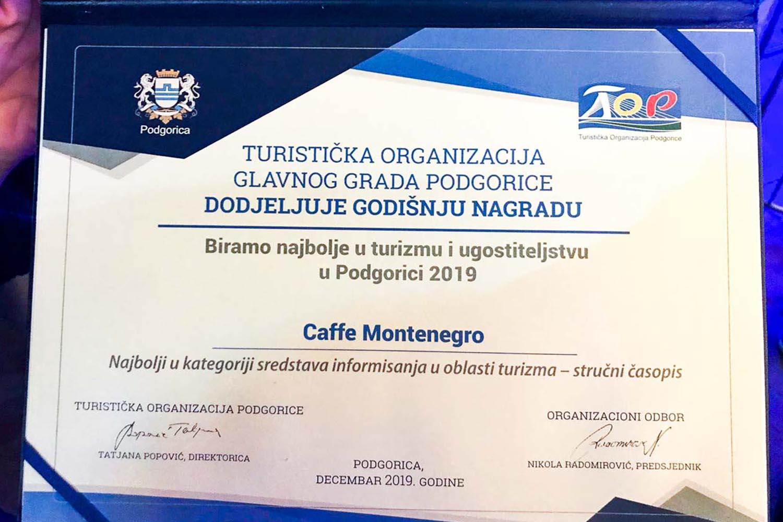 Caffe Montenegro najbolji stručni časopis po izboru Turističke organizacije Podgorice!